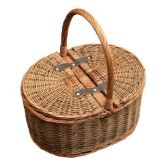 Hand Held Wicker Basket with Folding Lid