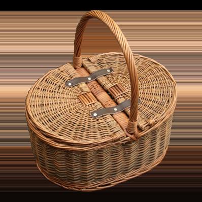 Hand Held Wicker Basket with Folding Lid