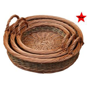 3 Hand Held Wicker Baskets