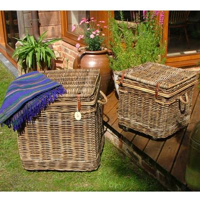Wheeled Square Grey Chest/Log Basket