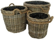 Round Grey Rattan Log/Planter with Rope Handles