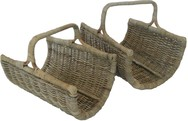 Grey Rattan Open Ended Log Carrier