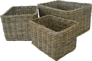 Grey Rattan Plain Log/Store Basket