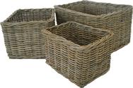Grey Rattan Plain Log/Store Basket