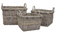 Grey Rattan Square Log/Store, Ear Handles