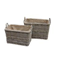 Grey Rattan Rectangular Wheeled Log Baskets