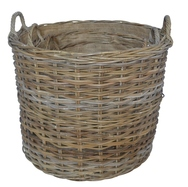 Round Basket with Ear Handles and Jute Liner