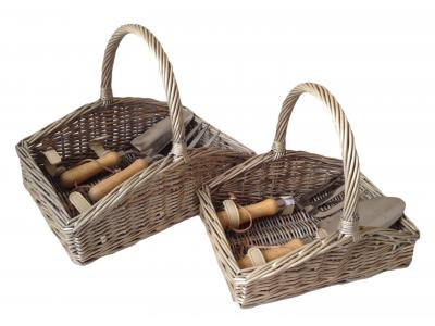 Large - 400 x 300 x 90mm (290mm with handle) Slope Sided Deluxe Garden Tool Basket