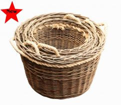 Green Willow Rope Handled Log Basket
