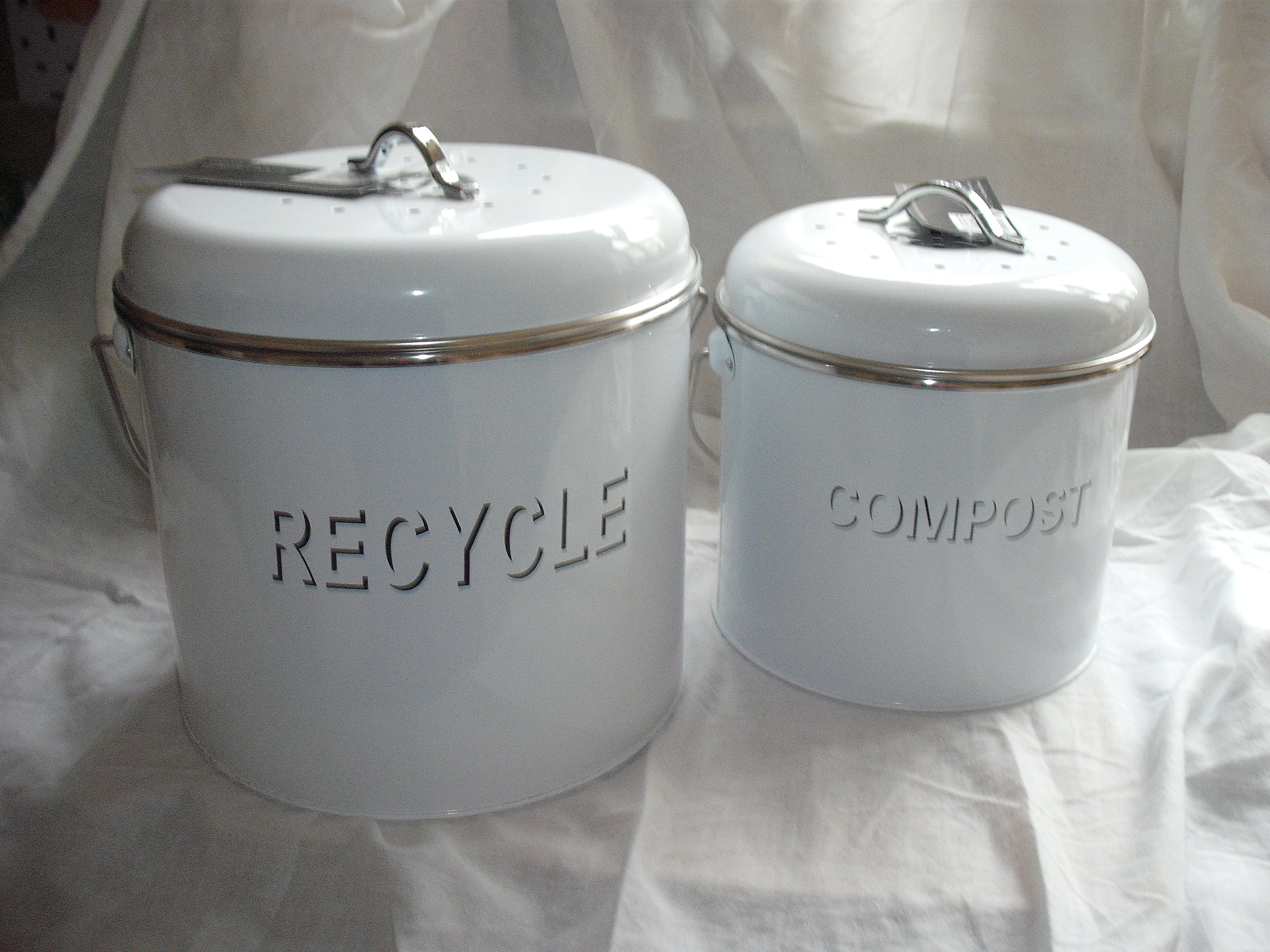 Set of two Compost and Recycle Bins with filter lids