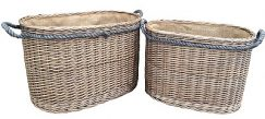 Oval Rope Handled Log Basket