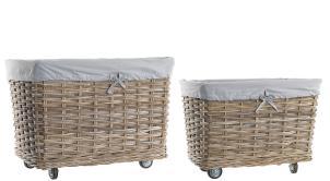 Grey Rattan Rectangular Lined Basket on Wheels