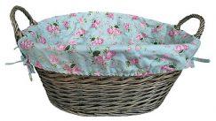 Antique Wash Finished Lined Basket with Cottage Rose Lining