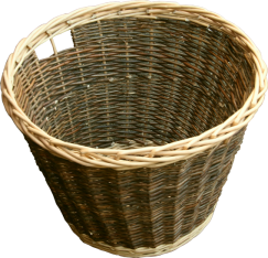 Round Rustic Log Basket with Integral Handles