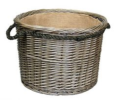 Antique Wash Round, Rope Handled Basket with Hessian Lining