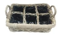 Handcrafted Rattan 6 Hole Herb Planter with Liner