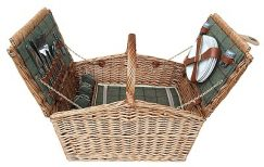 4 Person Green Tweed Double Lidded Hamper