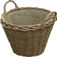 Ash Log Basket with Hessian Lining