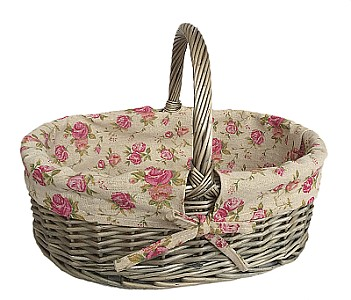 Antique Wash Oval Shopper with Garden Rose Lining