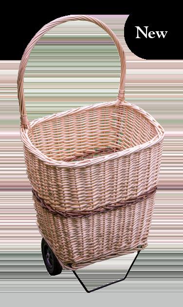 Wicker basket with wheels
