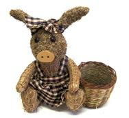 Straw Pig with Gingham Dress and Planting Hole