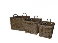 Grey Rattan Roll Top Log Basket with Ear Handles