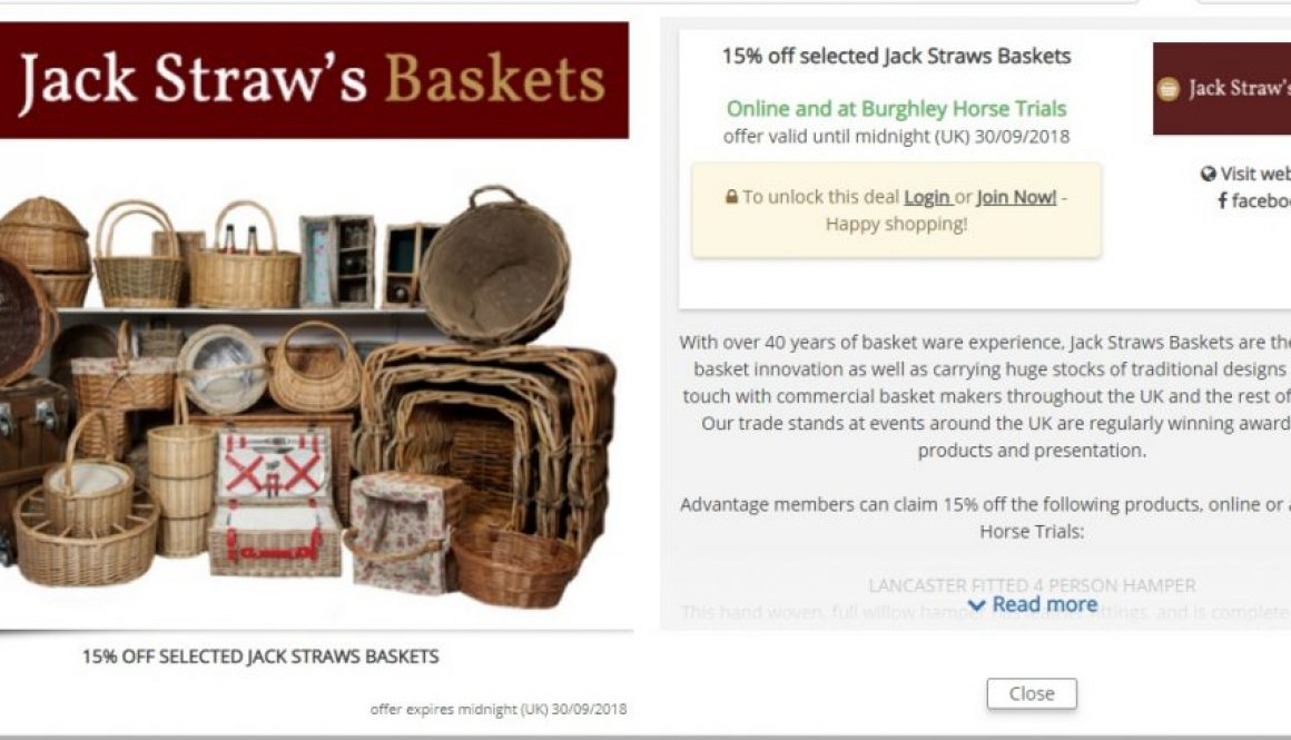 15% jack straws baskets at burghley horse trials