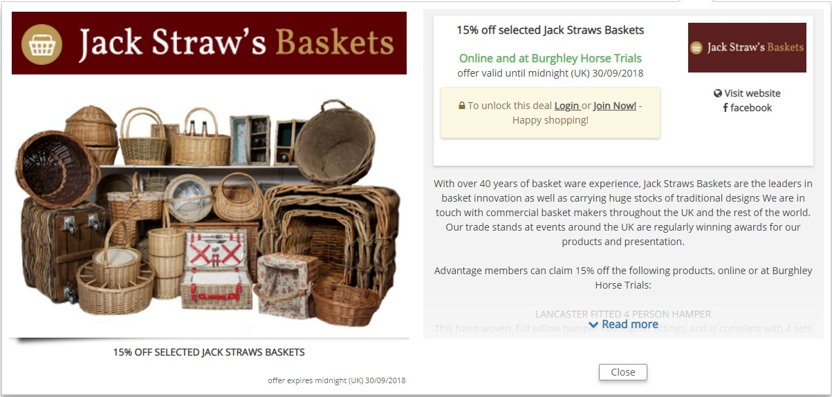15% discount Jack Straws Baskets at Burghley Horse Trials